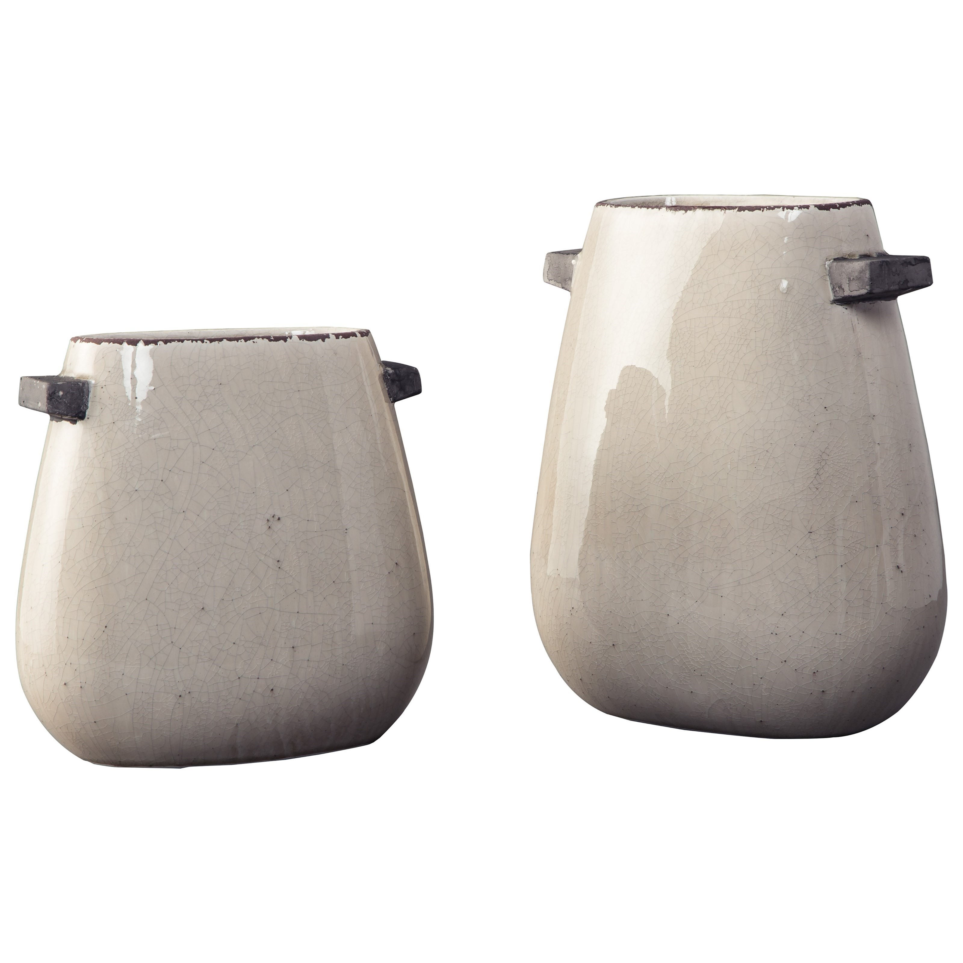 Accents Diah Tan Vase Set by Benchcraft at Virginia Furniture Market