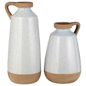 Tilbury Cream Glazed Ceramic Vase Set