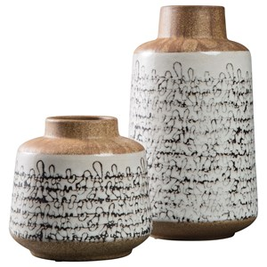 Ashley Signature Design Accents Meghan Tan/Black Vase Set