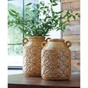 Signature Design by Ashley Accents Edaline Ochre Glazed Ceramic Vase Set