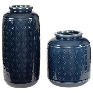 Marenda Navy Blue Vase Set