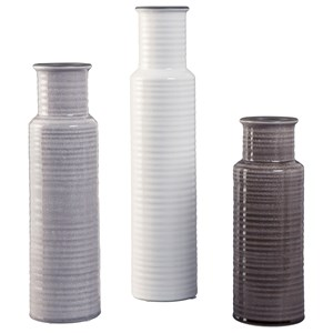 Ashley Signature Design Accents Deus Gray/White/Brown Vase Set
