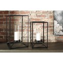 Signature Design by Ashley Accents Dimtrois Black Indoor/Outdoor Lantern Set