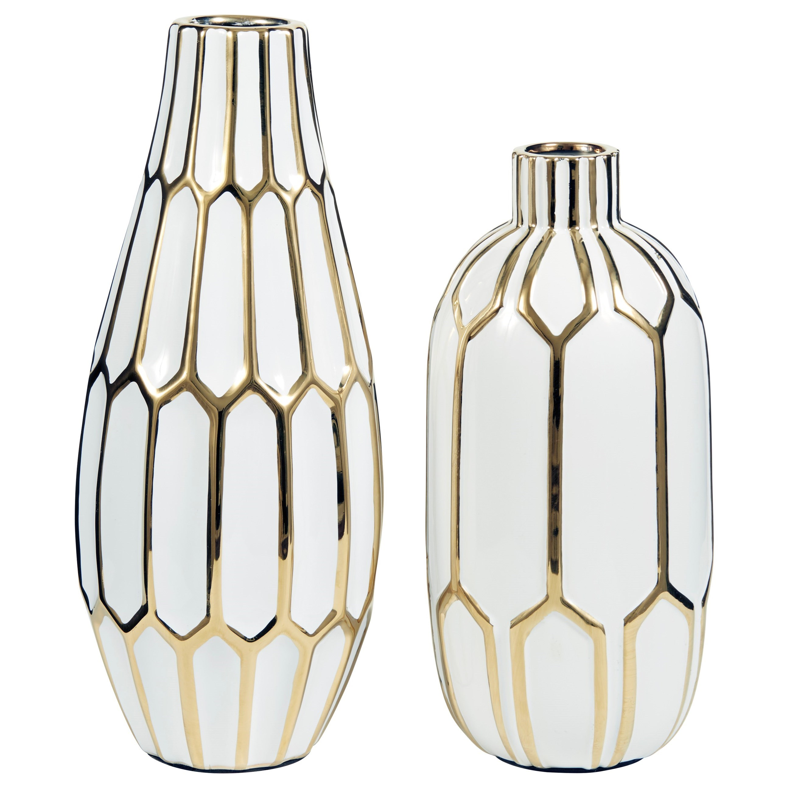 Accents Mohsen Gold Finish/White Vase Set by Benchcraft at Virginia Furniture Market