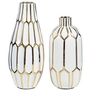 Mohsen Gold Finish/White Vase Set