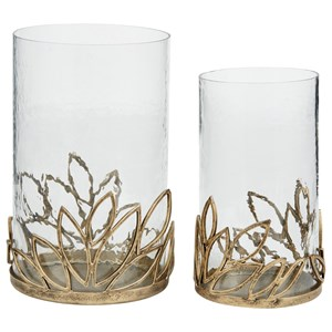 Pascal Antique Gold Finish Candle Holder Set