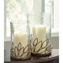 Signature Design by Ashley Accents Pascal Antique Gold Finish Candle Holder Set