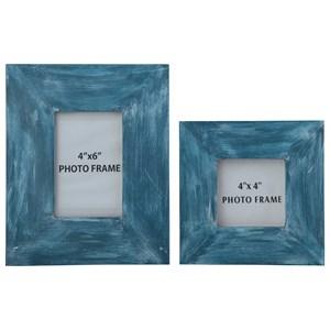 Signature Design by Ashley Accents Baeddan Antique Blue Photo Frames (Set of 2)
