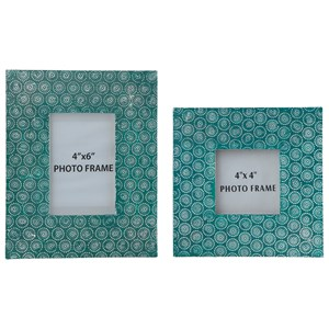 Signature Design by Ashley Furniture Accents Bansi - Teal Photo Frames (Set of 2)