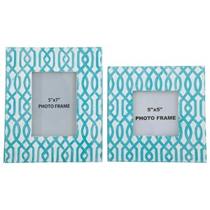 Signature Design by Ashley Furniture Accents Baina - Teal/White Photo Frame (Set of 2)