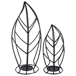 Signature Design by Ashley Furniture Accents Cadelaria - Black Candle Holder (Set of 2)