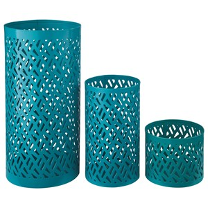 Ashley (Signature Design) Accents Caelan - Teal Candle Holder (Set of 3)