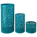 Signature Design by Ashley Accents Caelan - Teal Candle Holder (Set of 3) - Item Number: A2000156C