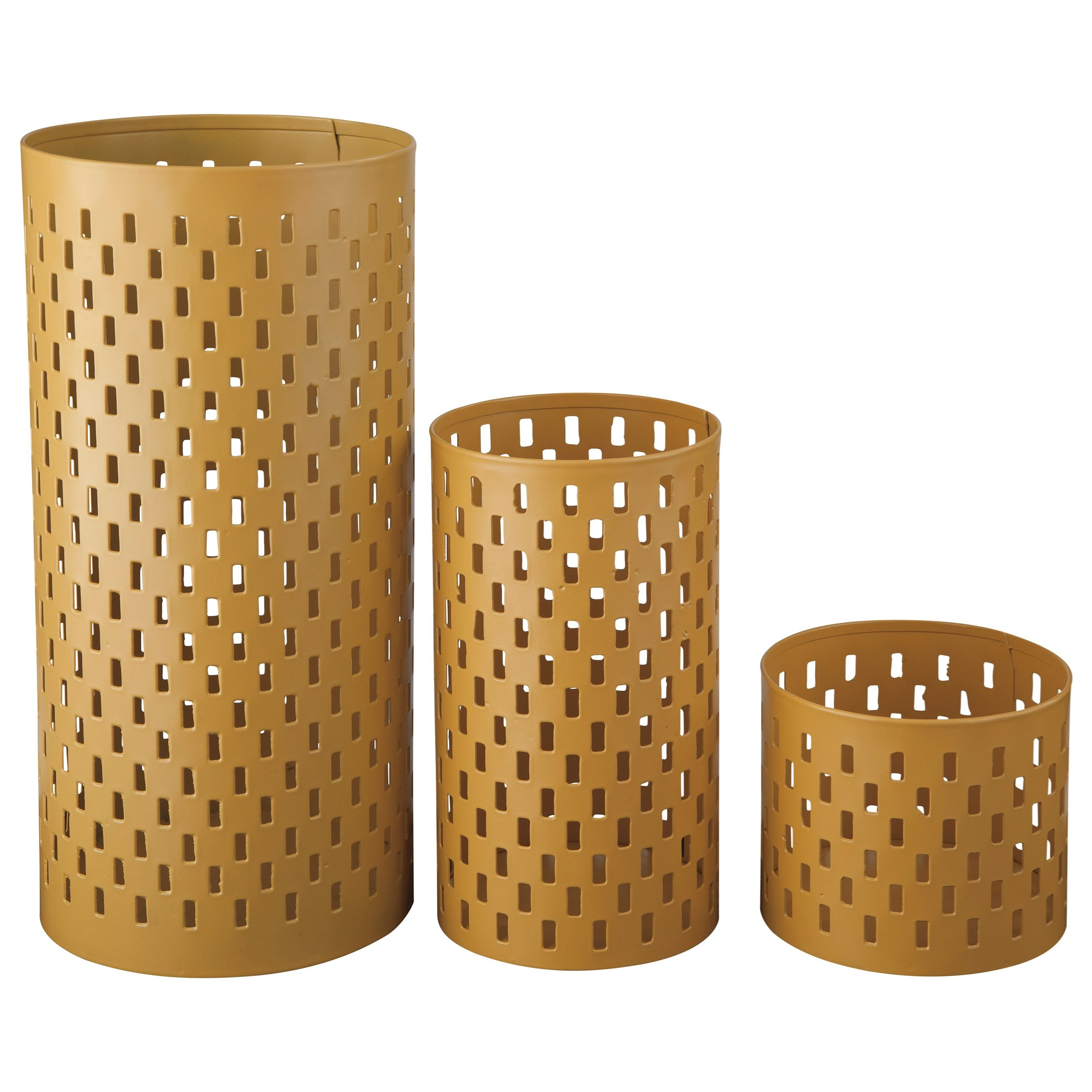 Signature Design by Ashley Accents Caelan - Yellow Candle Holder (Set of 3) - Item Number: A2000157C