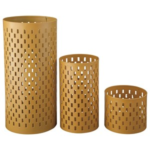 Signature Design by Ashley Furniture Accents Caelan - Yellow Candle Holder (Set of 3)