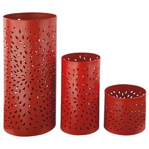 Signature Design by Ashley Accents Caelan - Orange Candle Holder (Set of 3)