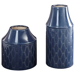 Ashley (Signature Design) Accents Caimbrie - Navy Vases (Set of 2)