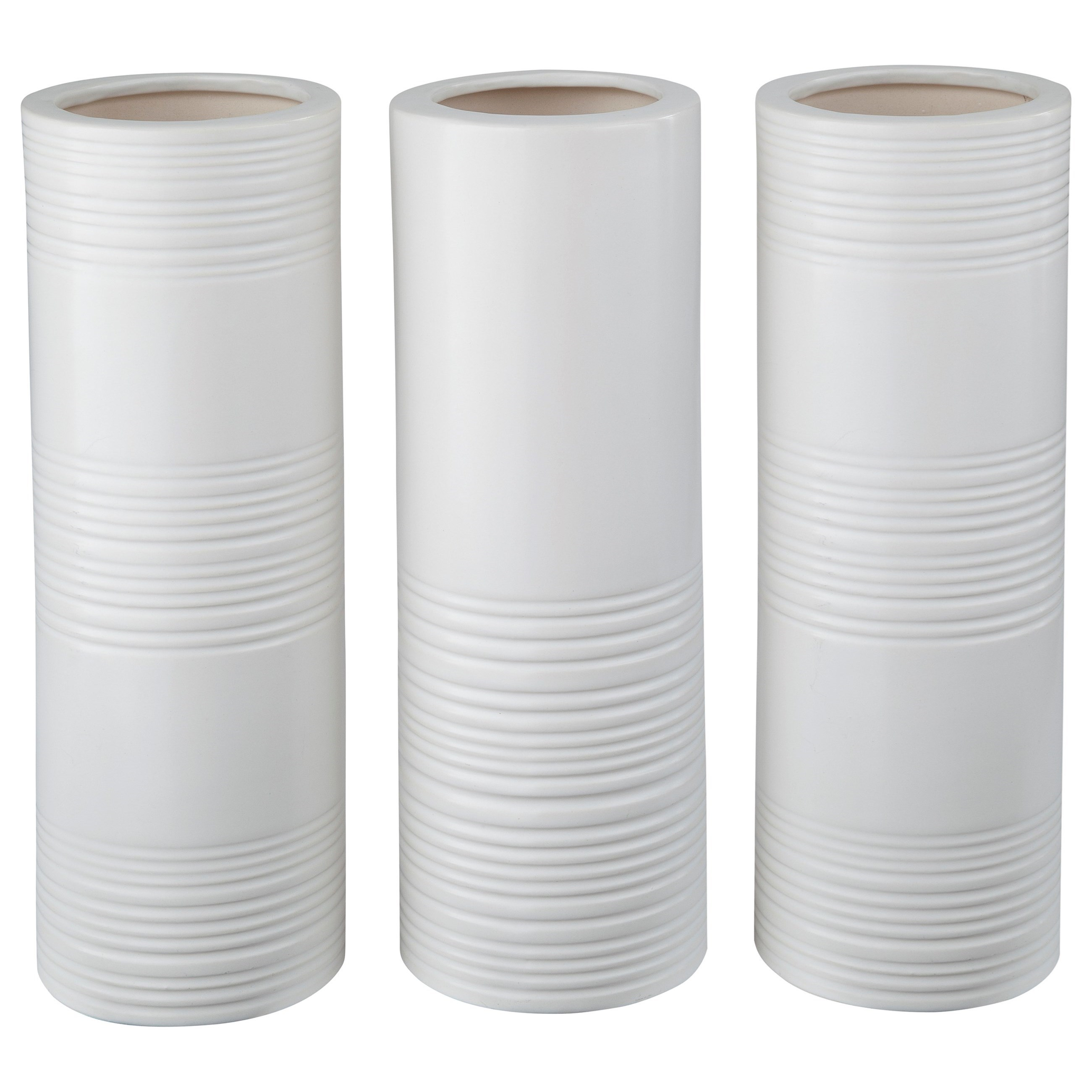 Signature Design by Ashley Accents Daemyn White Vases (Set of 3) - Item Number: A2000161V