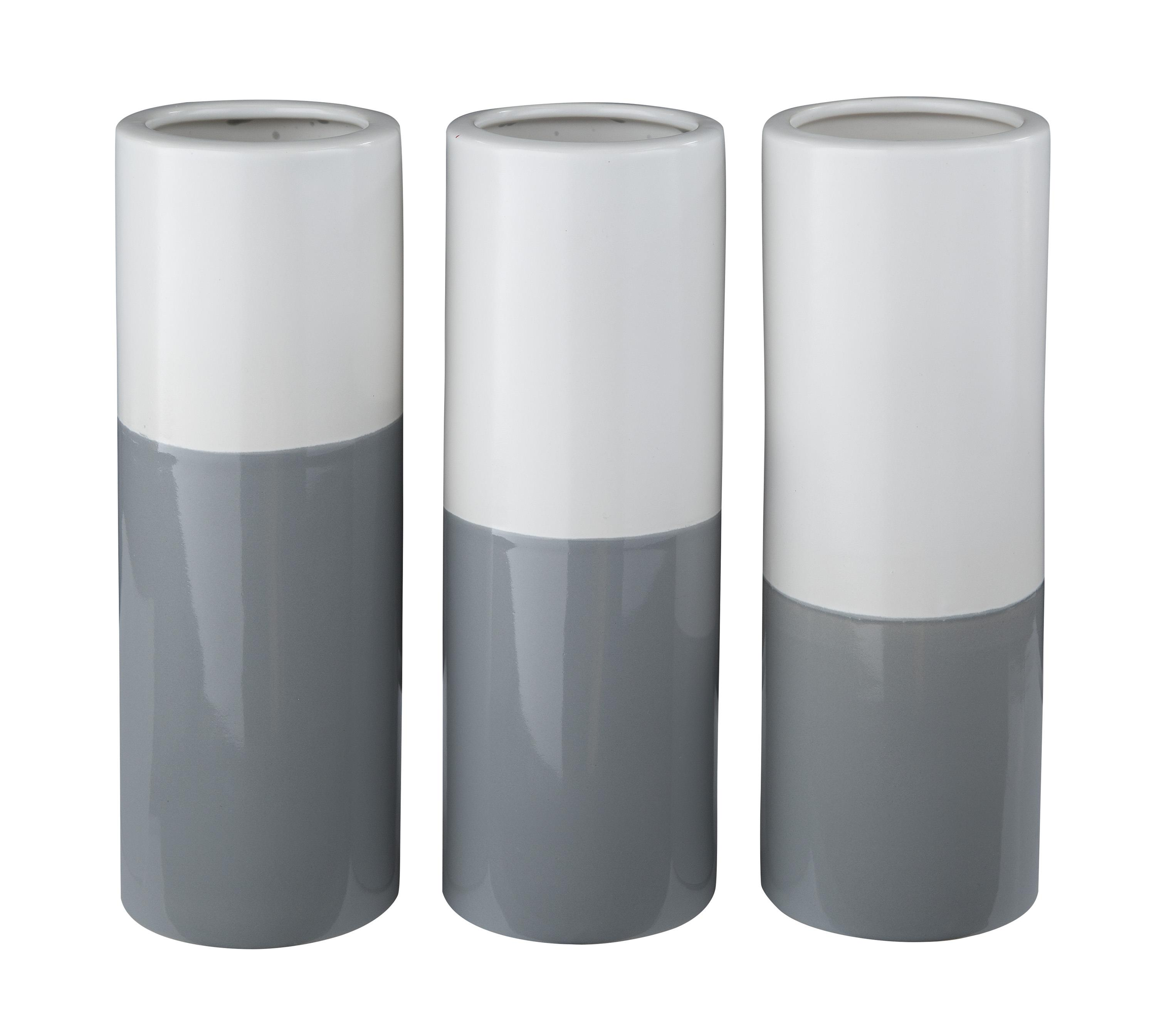 Signature Design by Ashley Furniture Accents Dalal Gray/White Vases (Set of 3) - Item Number: A2000165V
