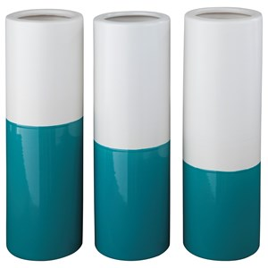 Signature Design by Ashley Accents Dalal Teal/White Vases (Set of 3)