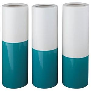 Ashley (Signature Design) Accents Dalal Teal/White Vases (Set of 3)