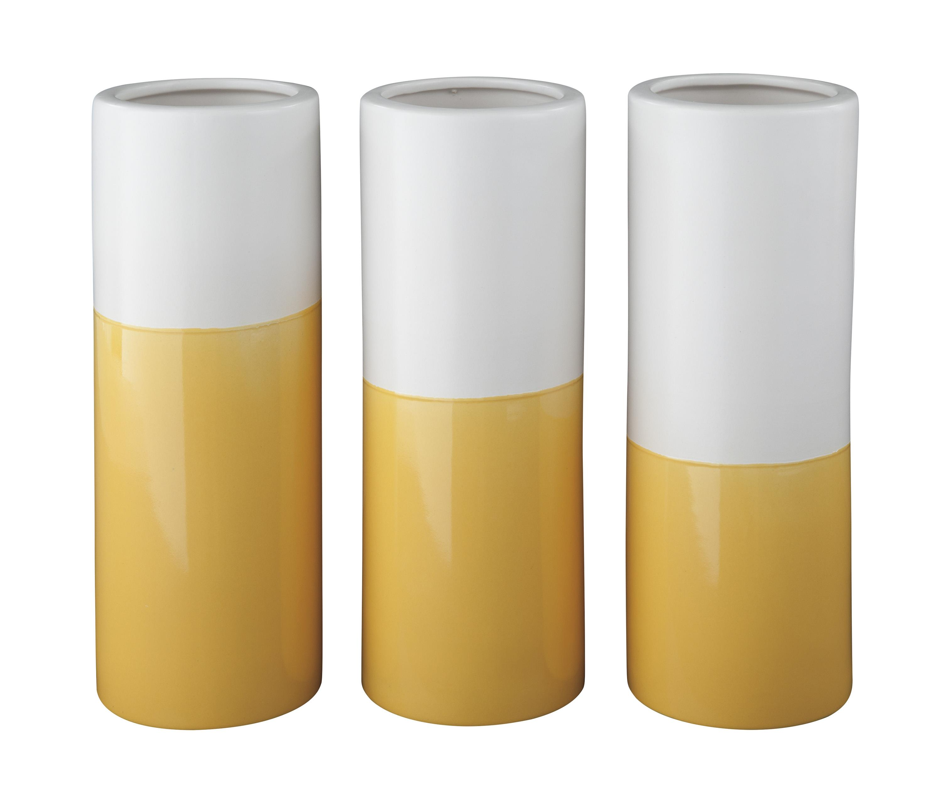 Signature Design by Ashley Accents Dalal Yellow/White Vases (Set of 3) - Item Number: A2000167V