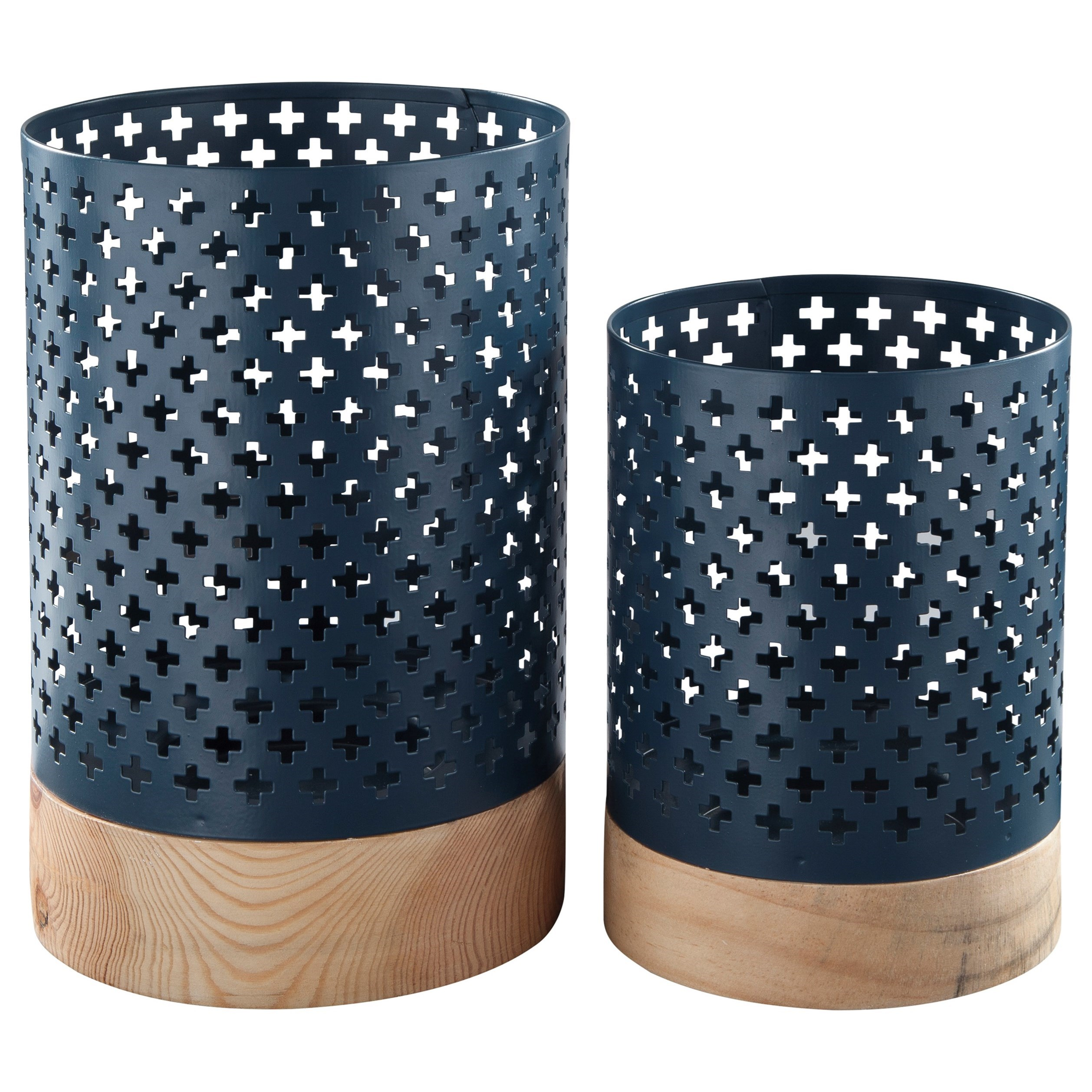 Signature Design by Ashley Accents Daichi - Navy Candle Holders (Set of 2) - Item Number: A2000168C