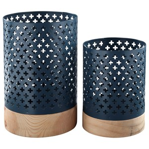 Signature Design by Ashley Furniture Accents Daichi - Navy Candle Holders (Set of 2)