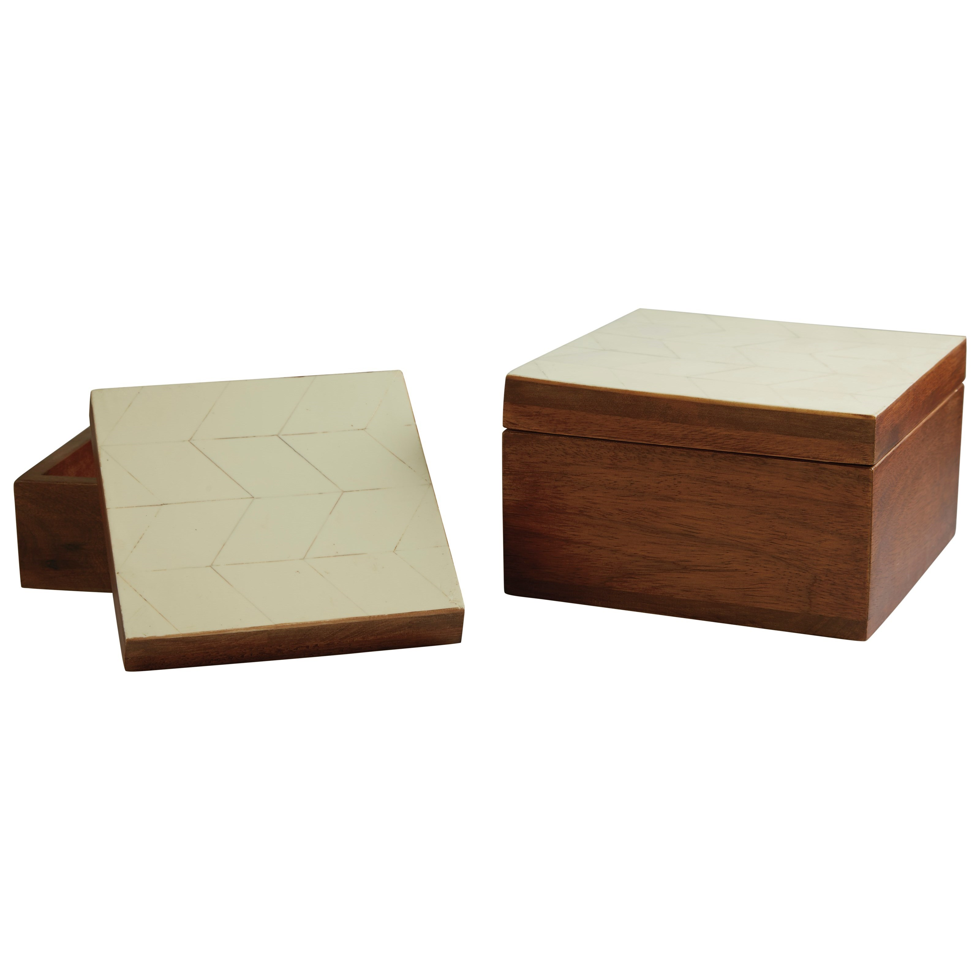 Signature Design by Ashley Accents Kabecka Brown/Cream Boxes (Set of 2) - Item Number: A2000173B