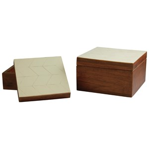 Signature Design by Ashley Furniture Accents Kabecka Brown/Cream Boxes (Set of 2)