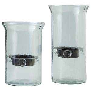 Ashley Signature Design Accents Kadeem Clear Candle Holders (Set of 2)