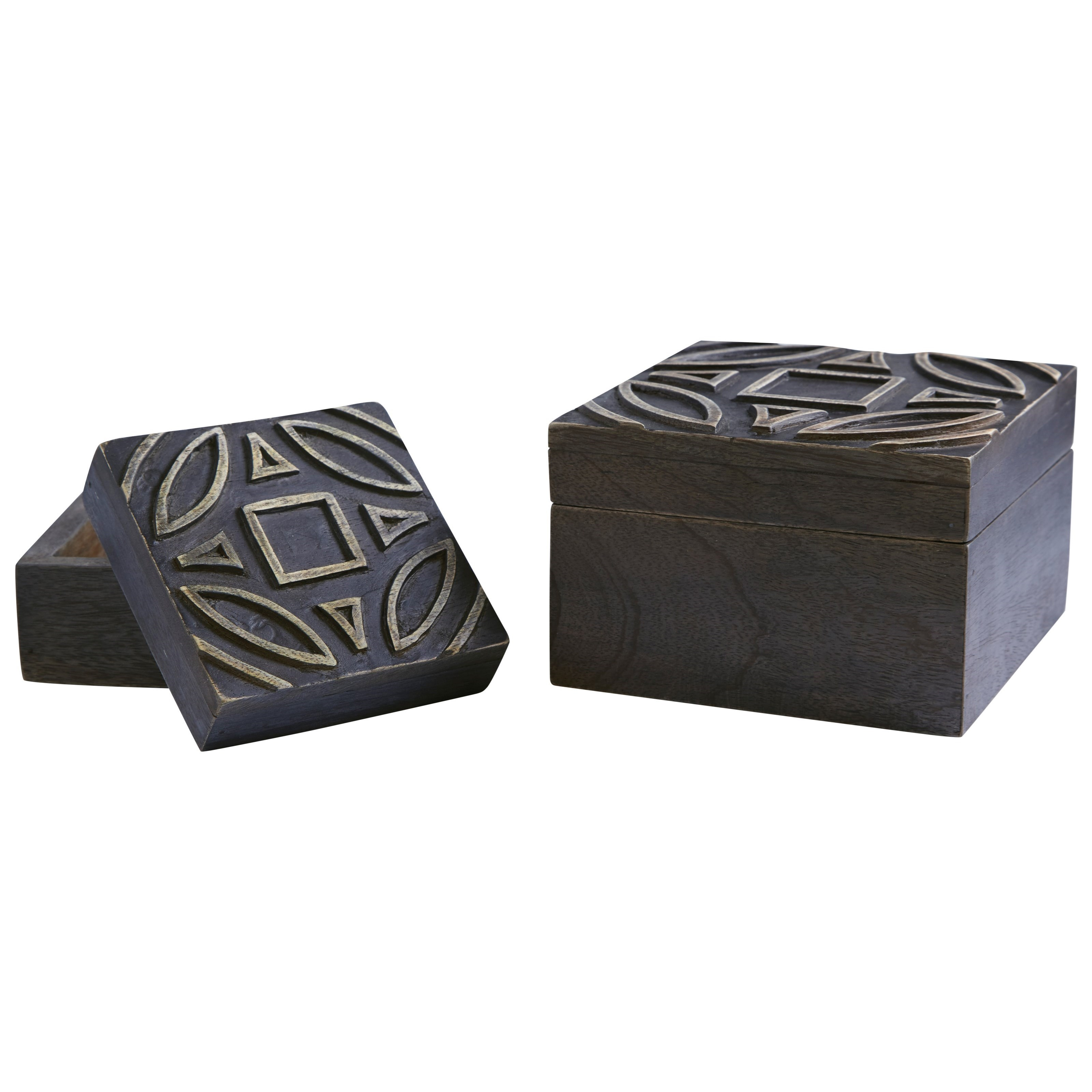 Signature Design by Ashley Accents Marquise Antique Black Boxes (Set of 2) - Item Number: A2000184B