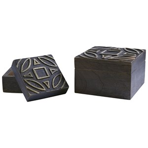 Signature Design by Ashley Furniture Accents Marquise Antique Black Boxes (Set of 2)