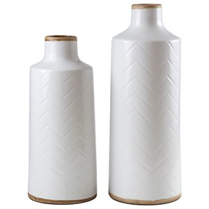 Signature Design by Ashley Furniture Accents Kaelem Antique White Vases (Set of 2)
