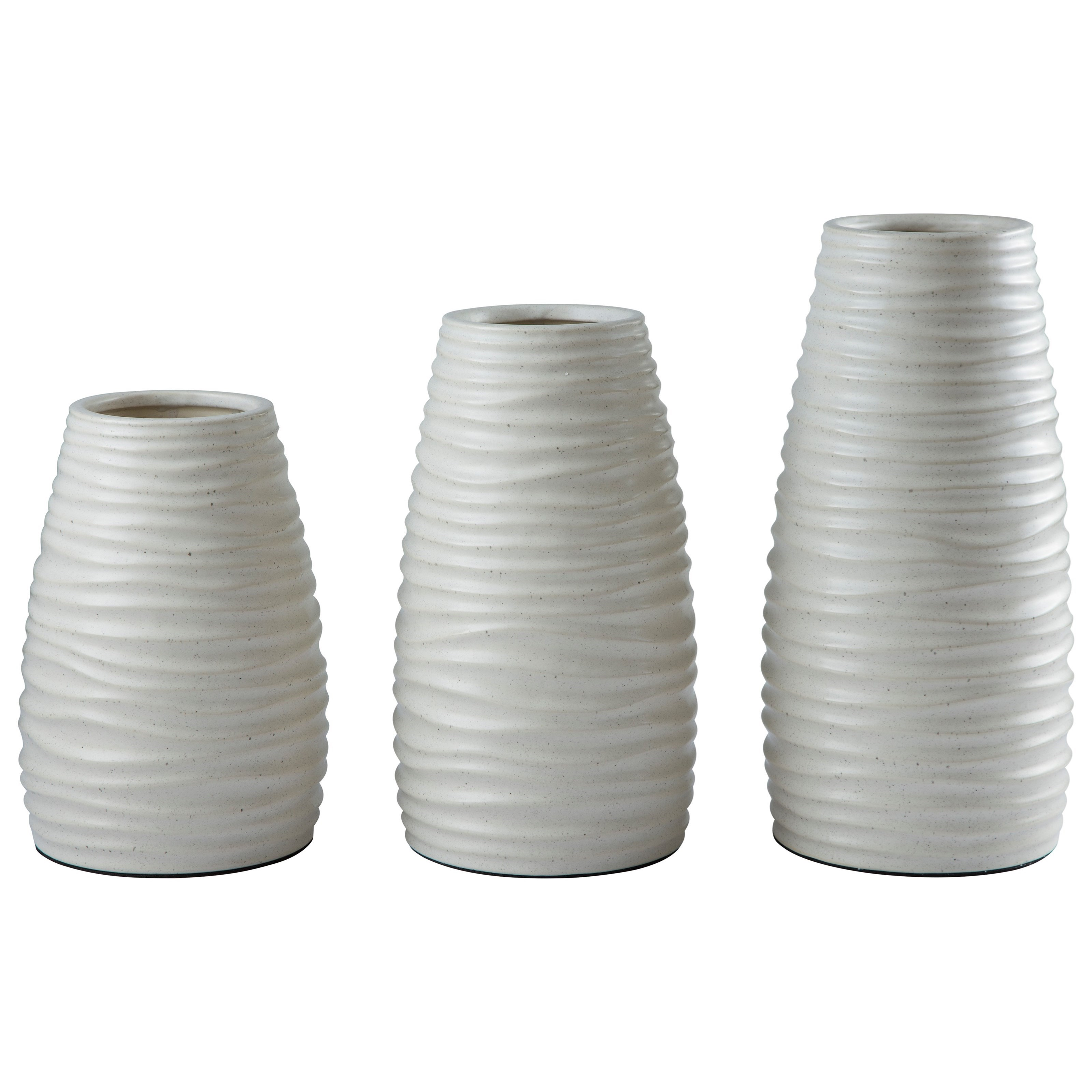 Signature Design by Ashley Furniture Accents Kaemon White Vase (Set of 3) - Item Number: A2000194V