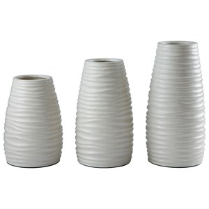 Signature Design by Ashley Accents Kaemon White Vase (Set of 3)