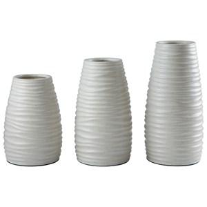 Signature Design by Ashley Accents Kaemon White Vase (Set of 3)