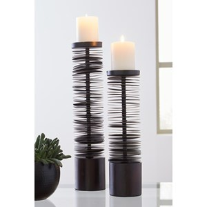 Ashley Signature Design Accents Constance Brown Metal Candle Holder Set
