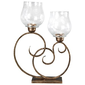Signature Design by Ashley Accents Oba Antique Gold Finish Candle Holder