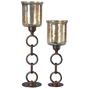 Signature Design by Ashley Accents Oana Bronze Finish Candle Holders, Set of 2