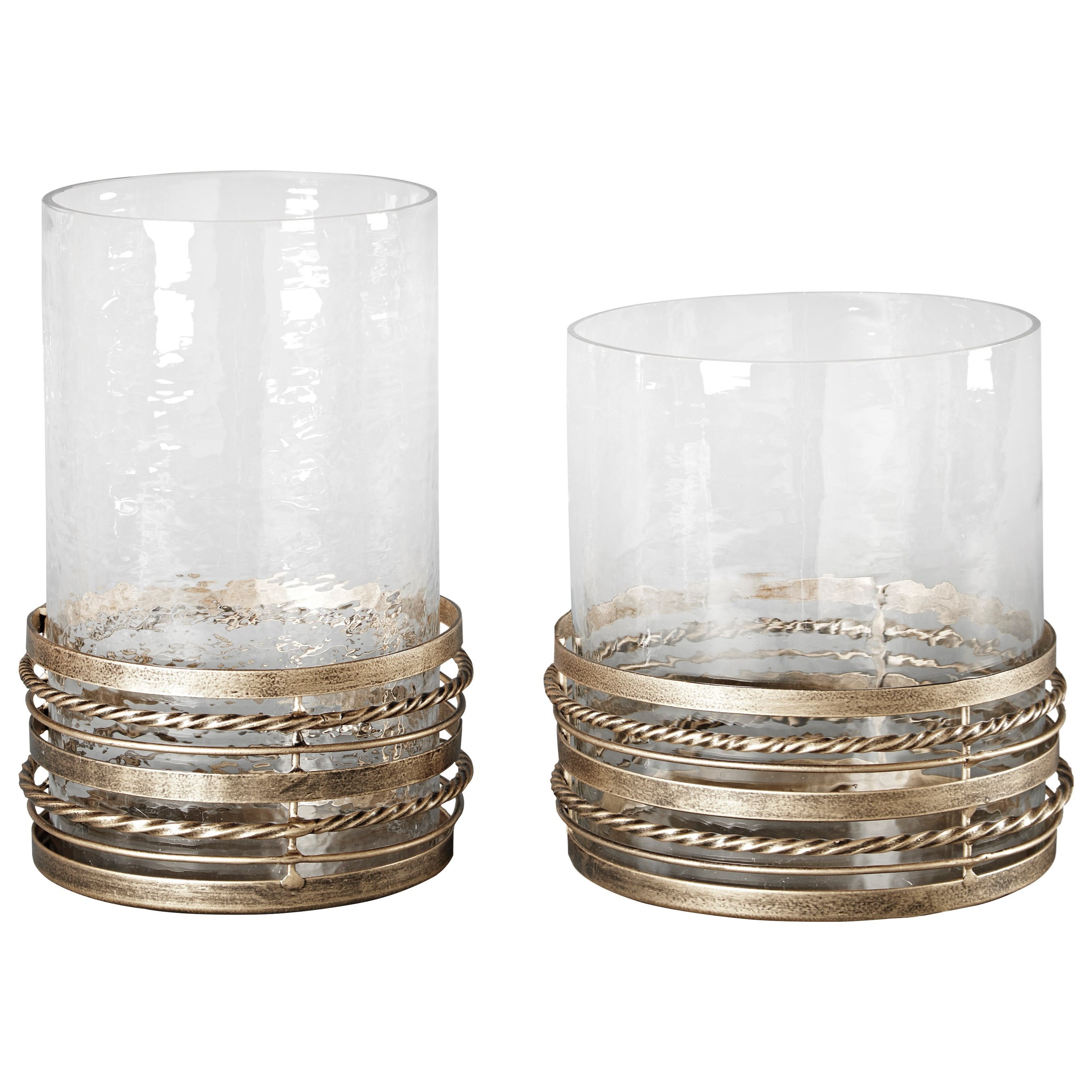 Signature Design by Ashley Accents Obaida - Antique Gold Finish Candle Holders - Item Number: A2000203C