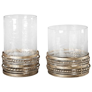 Signature Design by Ashley Accents Obaida - Antique Gold Finish Candle Holders