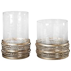 Ashley Signature Design Accents Obaida - Antique Gold Finish Candle Holders