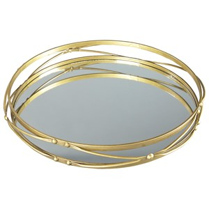 Signature Design by Ashley Accents Ocelfa Antique Gold Finish Tray