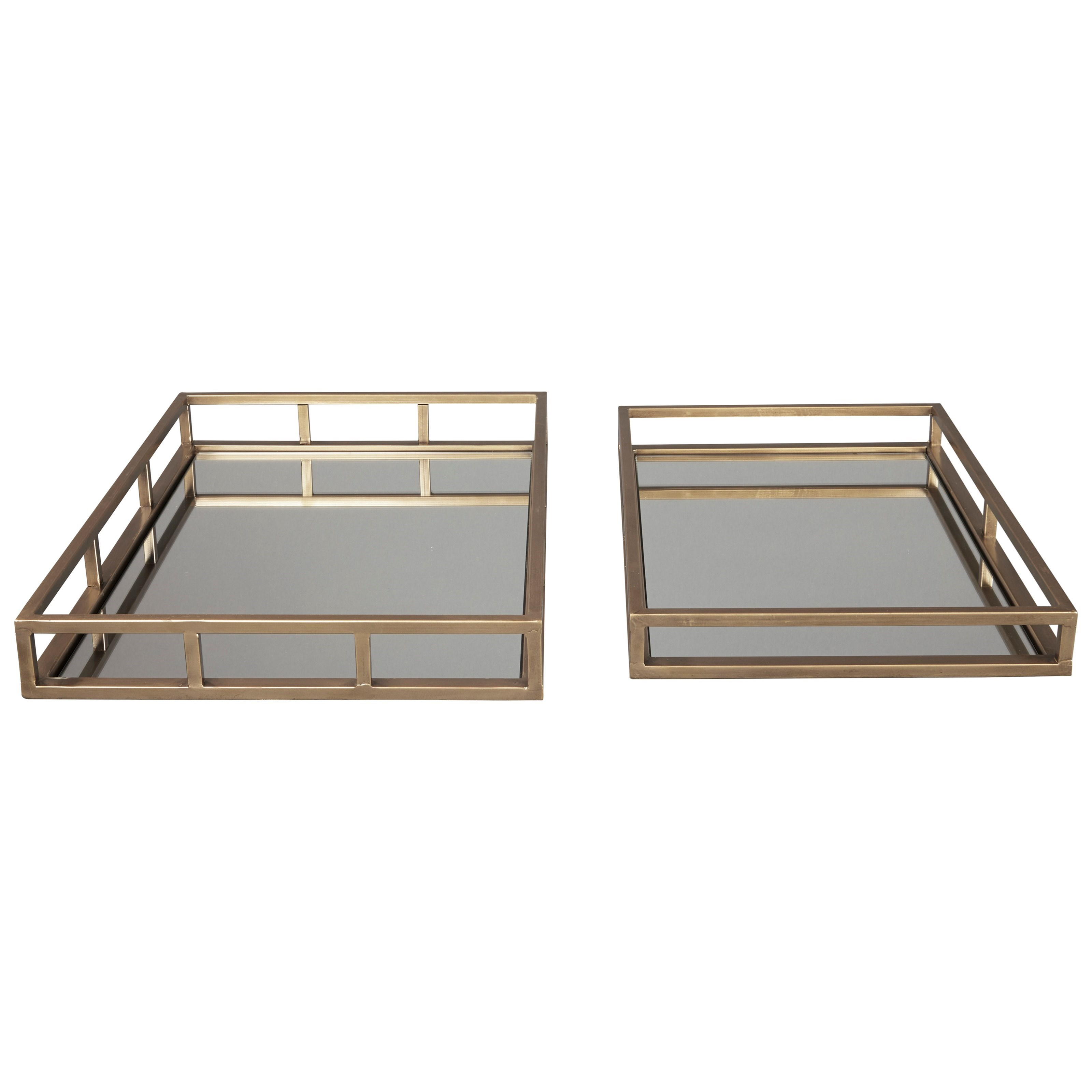 Signature Design by Ashley Accents Ocie Antique Gold Finish Trays (Set of 2) - Item Number: A2000211T