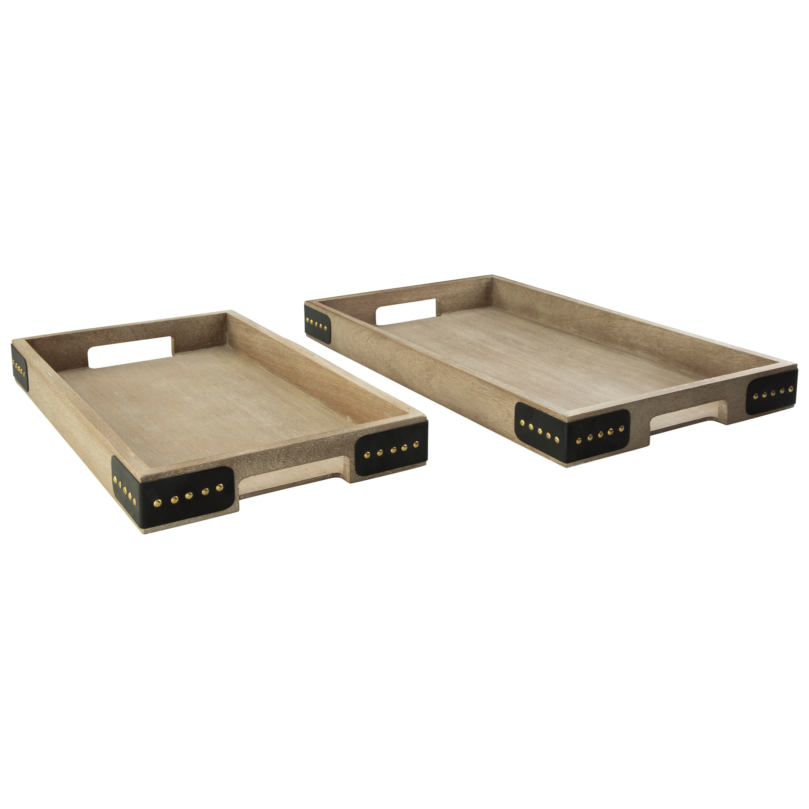Accents 2-Piece Missa Brown Tray Set by Benchcraft at Virginia Furniture Market