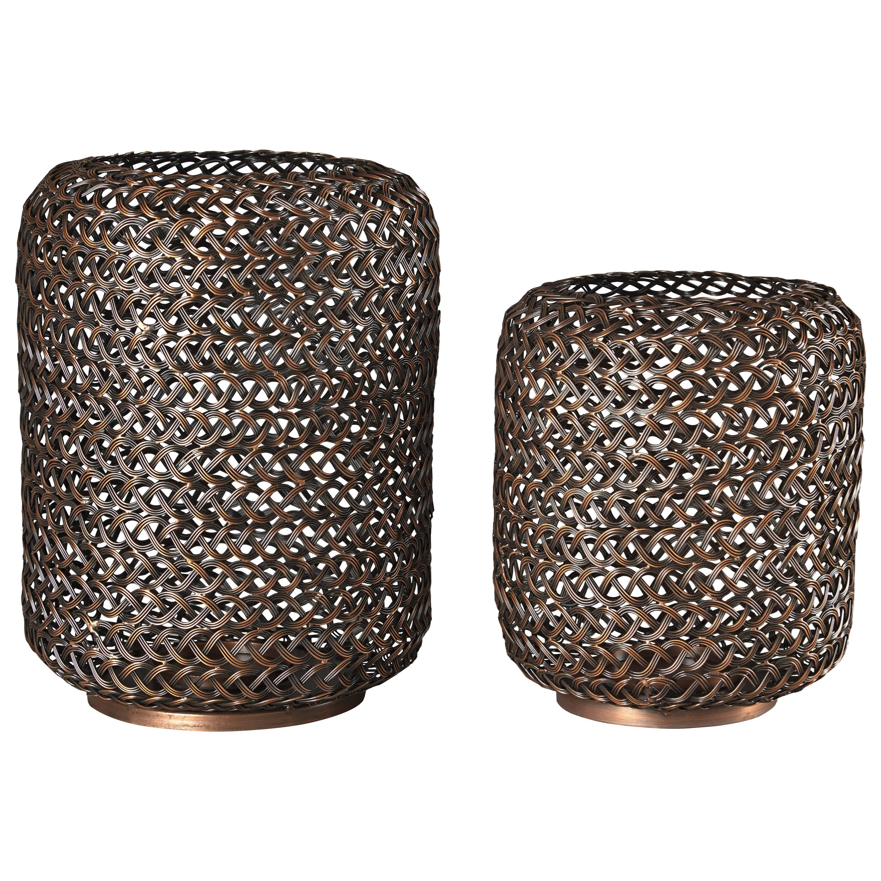 Signature Design by Ashley Accents Odbart Antique Bronze Finish Candle Holders - Item Number: A2000226C