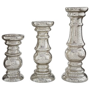 Rosario Silver Finish Candle Holder Set