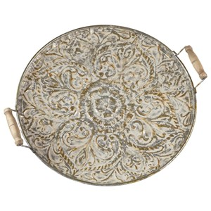 Ashley Signature Design Accents Didina Cream/Gold Finish Tray