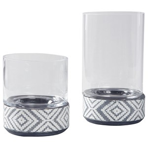 Ashley Signature Design Accents Dornitilla Black/White Candle Holder Set